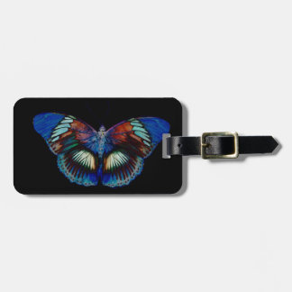 Colorful Butterfly design against black backdrop Bag Tag