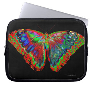 Colorful Butterfly design against black backdrop Computer Sleeve