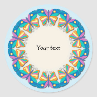 Colorful Butterfly Design Round Stickers