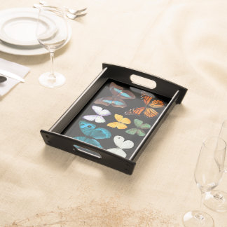 Colorful Butterfly Display Serving Tray