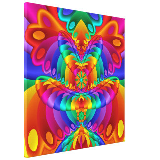 Colorful Butterfly Fractal Art Wrapped Canvas
