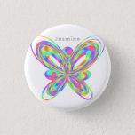 Colorful butterfly geometric figure button