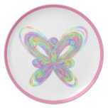 Colorful butterfly geometric figure dinner plate