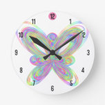 Colorful butterfly geometric figure round clock
