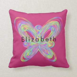 Colorful butterfly geometric figure. throw pillow