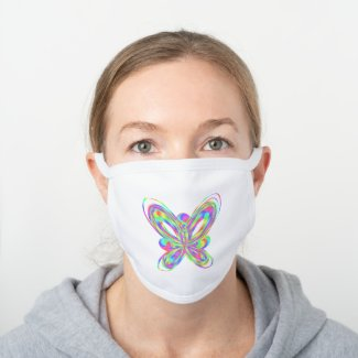 Colorful butterfly geometric figure - white cotton face mask