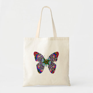 Colorful Butterfly Mandala Budget Tote Bag
