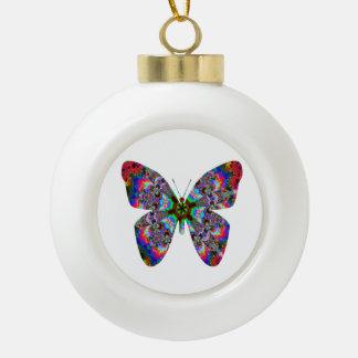 Colorful Butterfly Mandala Ceramic Ball Christmas Ornament