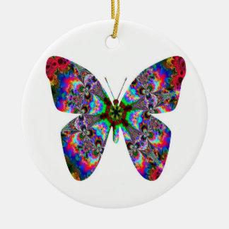 Colorful Butterfly Mandala Ceramic Ornament