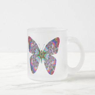Colorful Butterfly Mandala Frosted Glass Coffee Mug