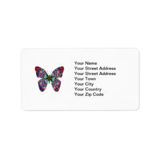 Colorful Butterfly Mandala Label