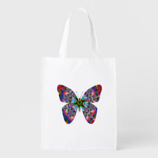 Colorful Butterfly Mandala Reusable Grocery Bag