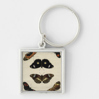 Colorful Butterfly Medley on Cream Background Keychain