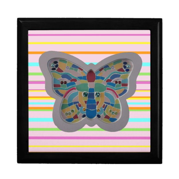 Colorful Butterfly Mosaic Striped Keepsake Box