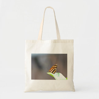 Colorful Butterfly On A Leaf Budget Tote Bag