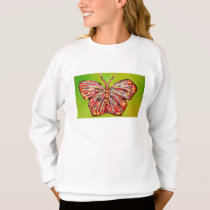 Colorful Butterfly on Girl's Sweatshirt