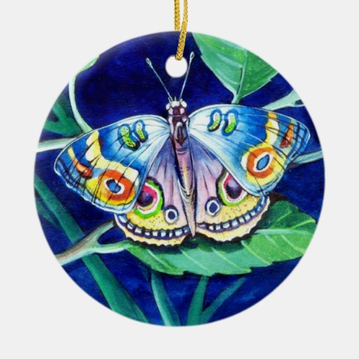 Colorful Butterfly Double-Sided Ceramic Round Christmas Ornament