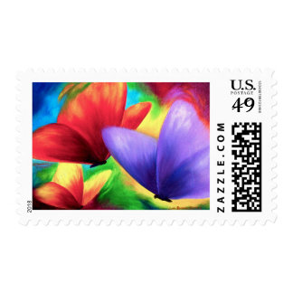 Colorful Butterfly Painting - Multi Postage Stamp