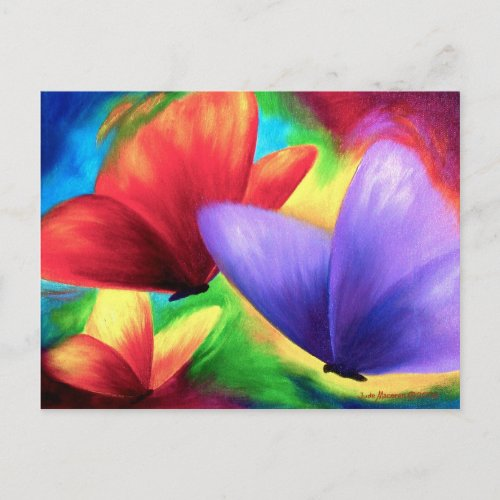 Colorful Butterfly Painting - Multi postcard