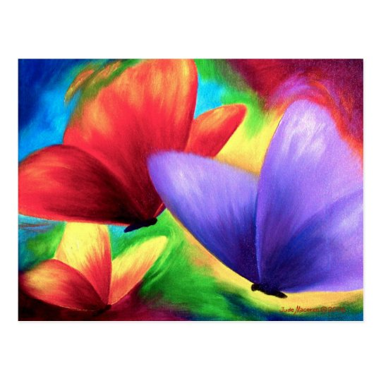 Colorful Butterfly Paintings On Print Postcards