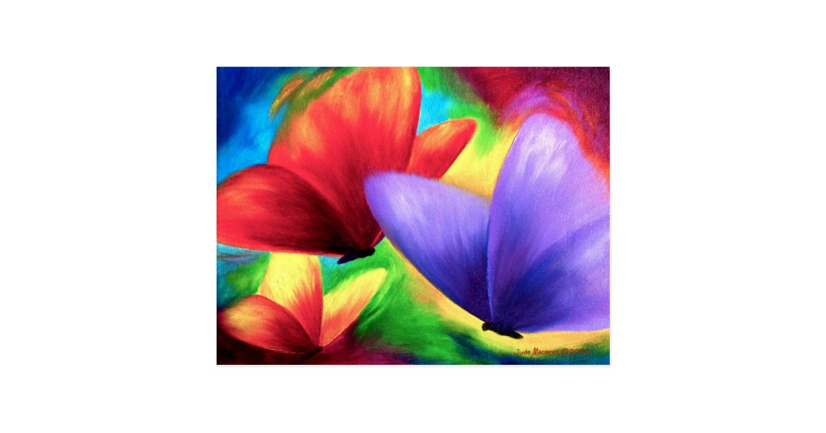 Colorful Butterfly Paintings On Print Postcards | Zazzle.com