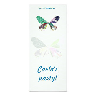 colorful butterfly party 4x9.25 paper invitation card