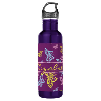 Colorful Butterfly Personalize Pattern 24oz Water Bottle