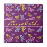 Colorful Butterfly Personalize Pattern Ceramic Tile