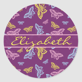 Colorful Butterfly Personalize Pattern Classic Round Sticker
