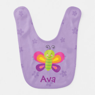 Colorful Butterfly Personalized Baby Bib
