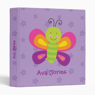 Colorful Butterfly Personalized Binder for Girls