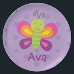 "Colorful Butterfly Personalized Melamine Plate<br><div class=""desc"">Personalized Melamine Plate featuring a colorful butterfly with a beautiful purple floral background. Cute and fun design for special for girls. Custom monogrammed gift.</div>"
