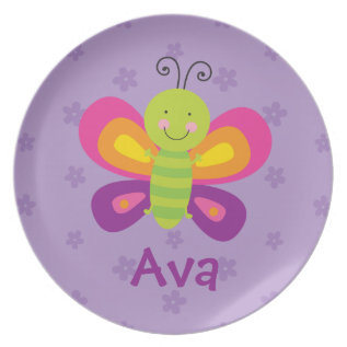 Colorful Butterfly Personalized Melamine Plate at Zazzle