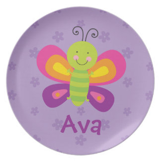 Colorful Butterfly Personalized Melamine Plate