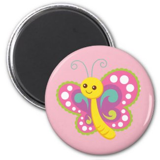 Colorful Butterfly Round Magnet