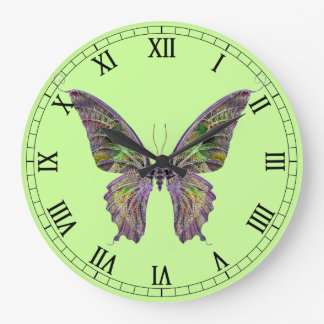 Colorful Butterfly Round Roman Numerals Clock