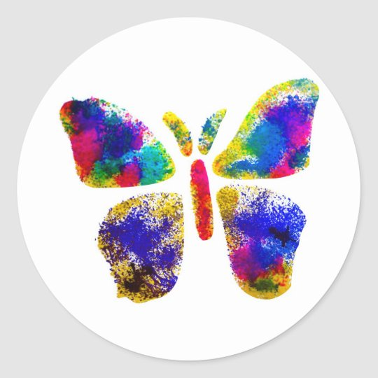 Colorful Butterfly Spray Art Classic Round Sticker