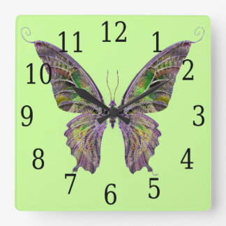 Colorful Butterfly Square Clock