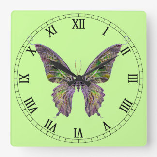 Colorful Butterfly Square Roman Numerals Clock