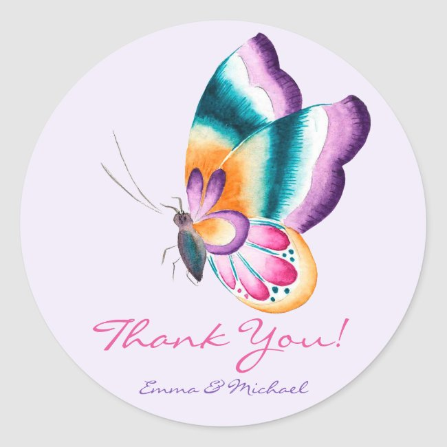 Colorful Butterfly | Thank You Wedding Stickers