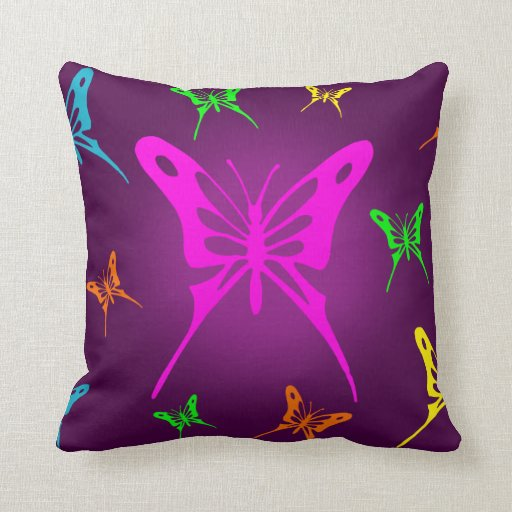 Colorful Butterfly Throw Pillows Zazzle
