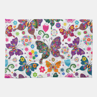 Colorful Butterfly's And Flowers Pattern Hand Towel