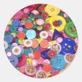 Colorful Button Collage Classic Round Sticker