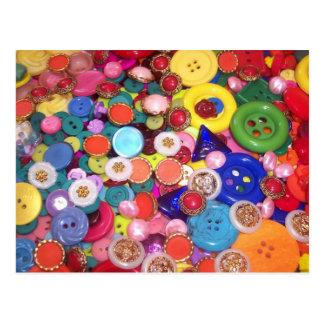 Colorful Button Collage Postcard