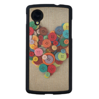 Colorful Buttons Heart Carved® Maple Nexus 5 Case