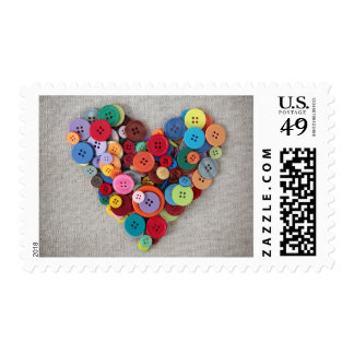 Colorful Buttons Heart Postage