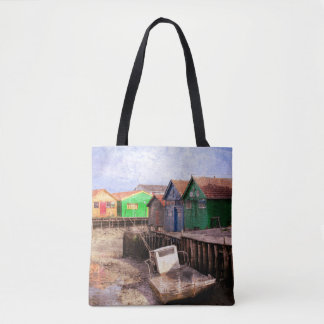 Colorful Cabins At Low Tide Tote bag