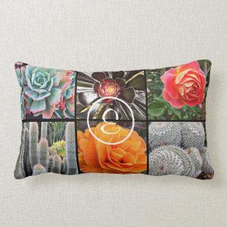 Colorful cacti and roses photo custom monogram lumbar pillow