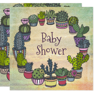 Colorful Cactus Baby Shower Card