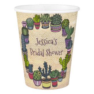 Colorful Cactus Bridal Shower Paper Cup